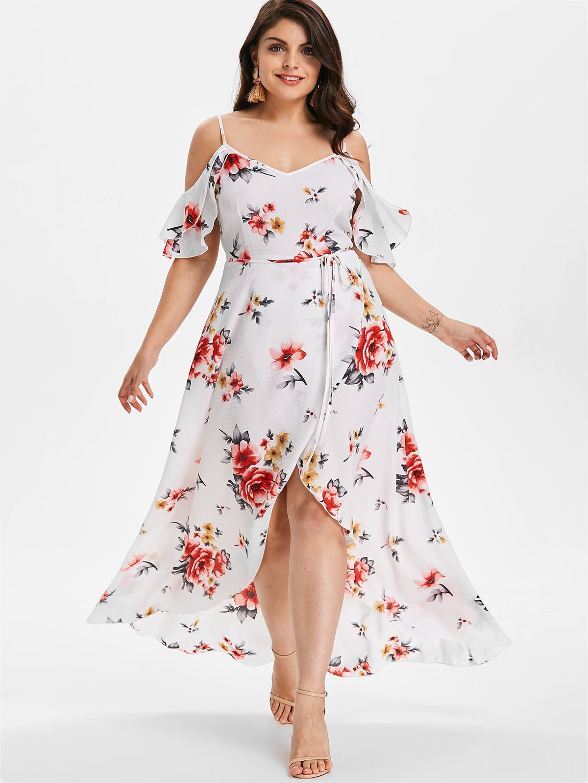 Beautiful White Black Polka Dot Overlay Chiffon Layer Dip Hem Dress
