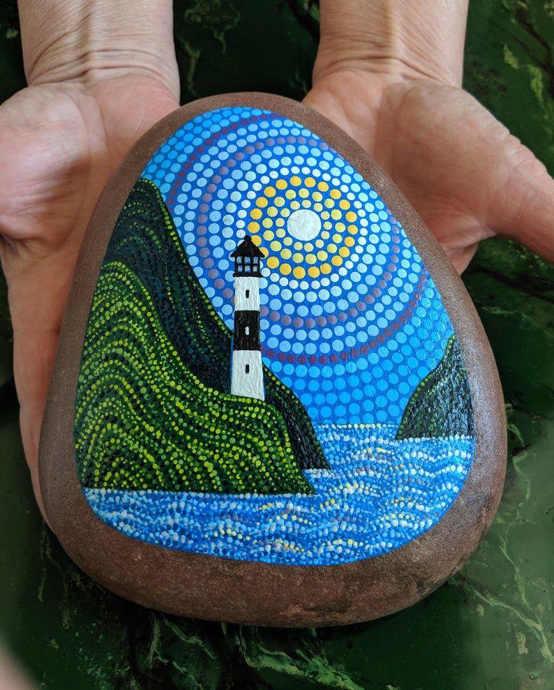 Lighthouse, pointillism, dot art, painted rock, la