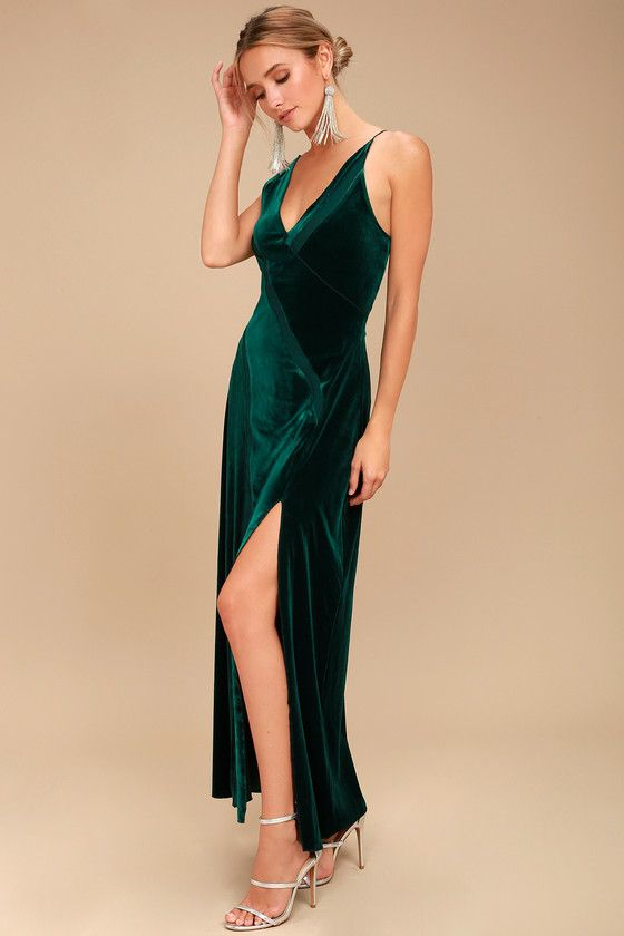 Trendy Formal Dresses at Affordable Prices. Spliced Forest Green Velvet  Maxi Dress 2 7cf54c05633f
