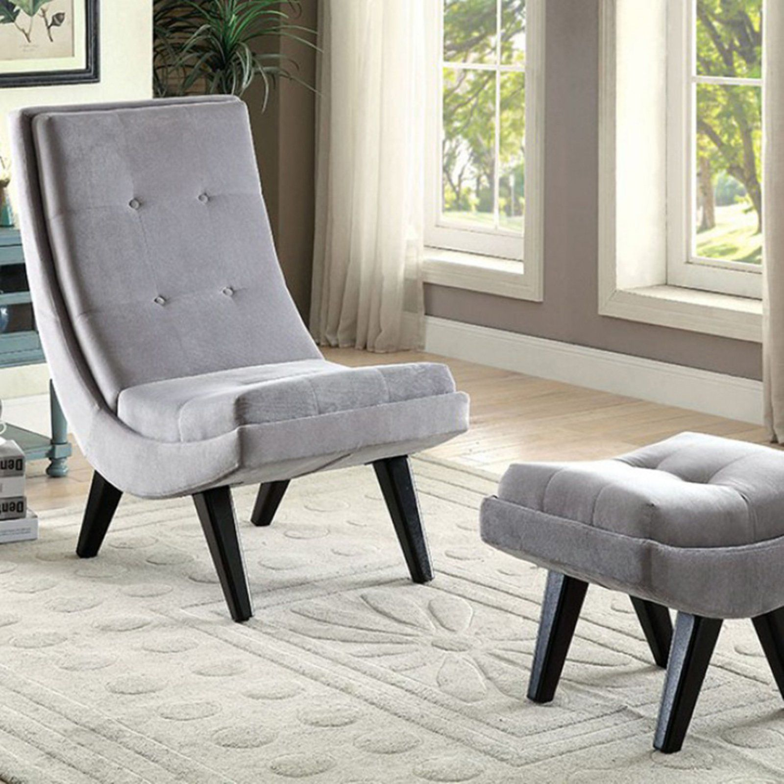 Chairs With Ottoman Benzara Esmeralda Accent Chair With Ottoman In 2019 Products