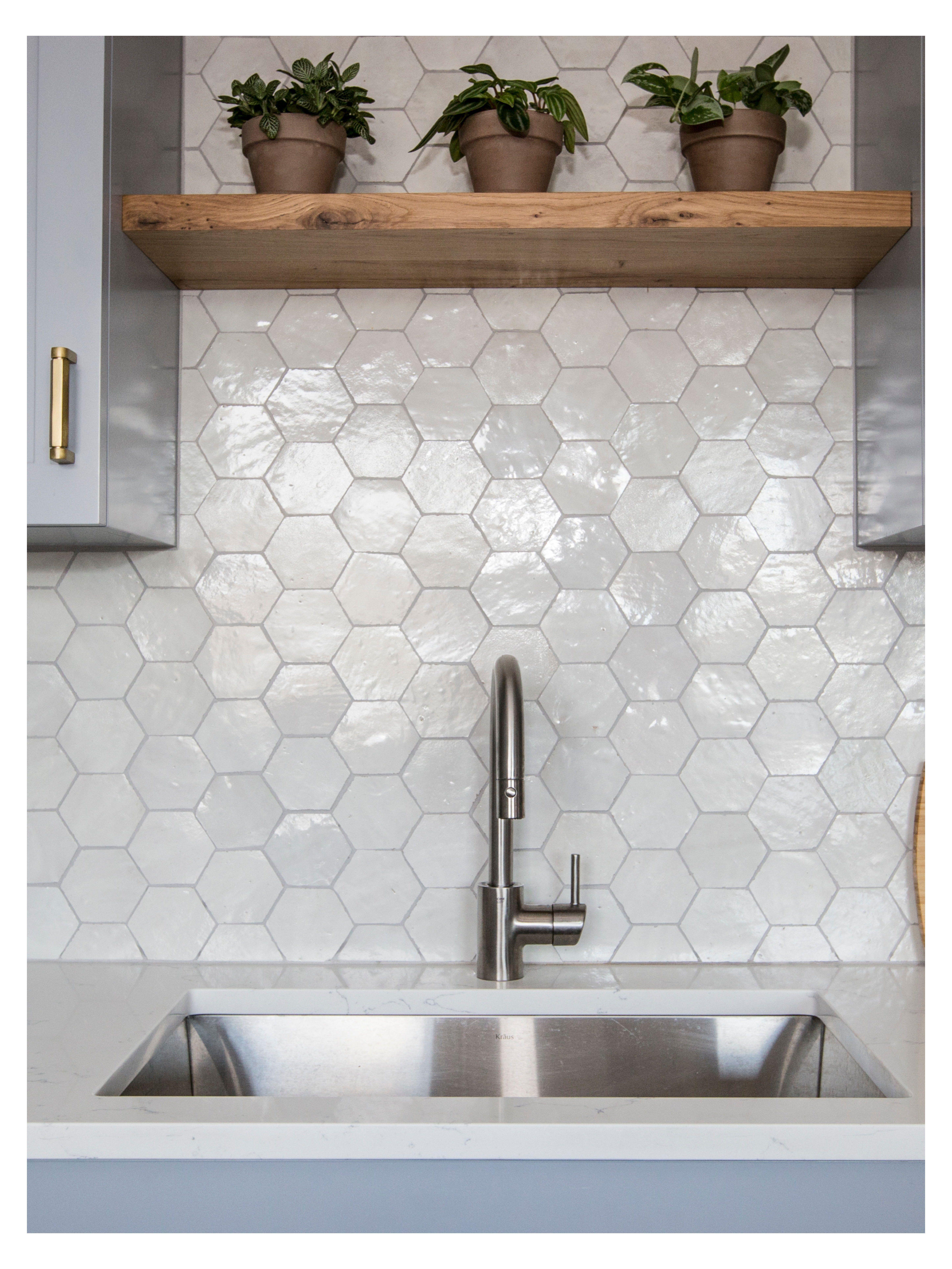 Glossy Cle Zellige Hexagon Tile Backsplash Modern Kitchen Tiles Shape Light Easy T Modern Kitchen Tiles Kitchen Backsplash Designs Hexagon Tile Backsplash