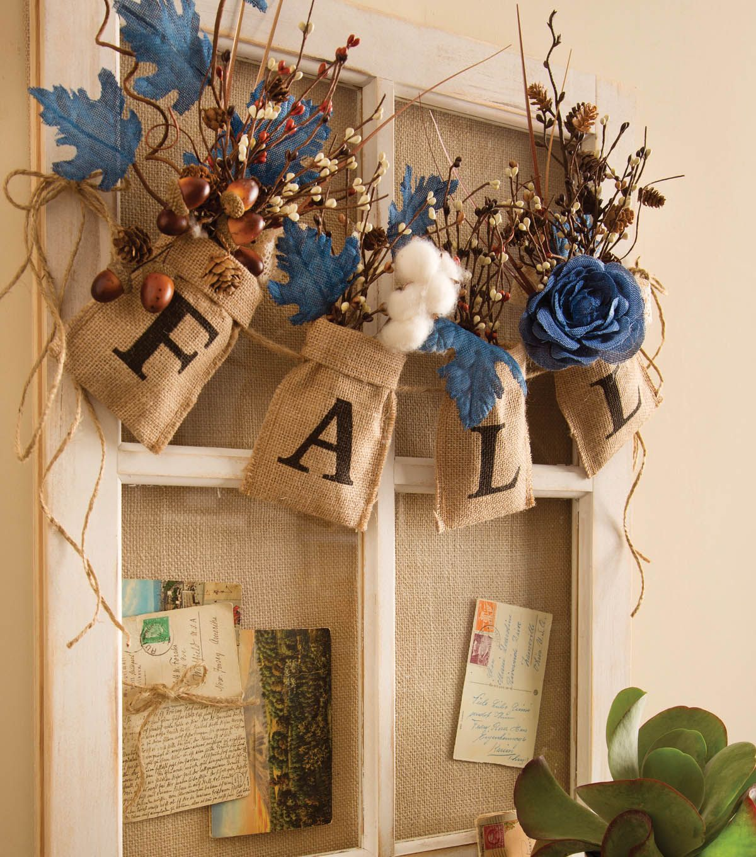 Burlap Home Decor: Fall Burlap Bag & Floral Garland // Fall Home Decor