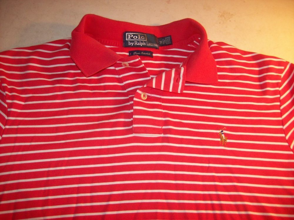 Ralph Lauren Polo Men\u0027s Medium Salmon Striped w/ Multi-Color Pony Polo Shirt  EUC #RalphLauren #PoloRugby