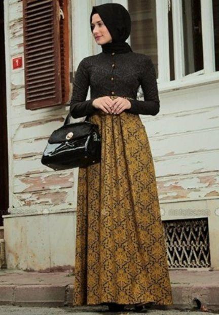 Gaun Pesta Muslim Kombinasi Batik Busana Muslim Hijab Fashion