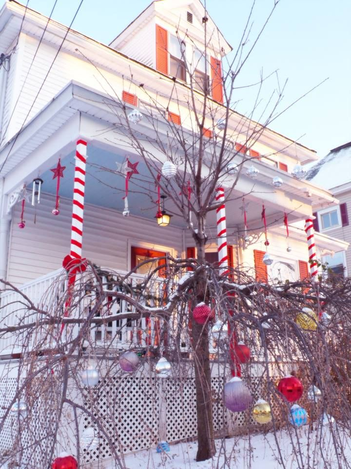 Silver Bells Decorations Christmas Porch Decoration This Year  Candy Cane Porch Columns