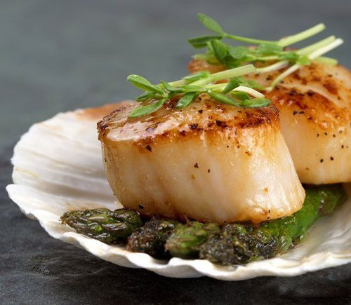 scallops and asparagus image suitable for seafood restaurant menu design www.brochure-designers.co.uk #scallops #asparagus #seafoodmenu