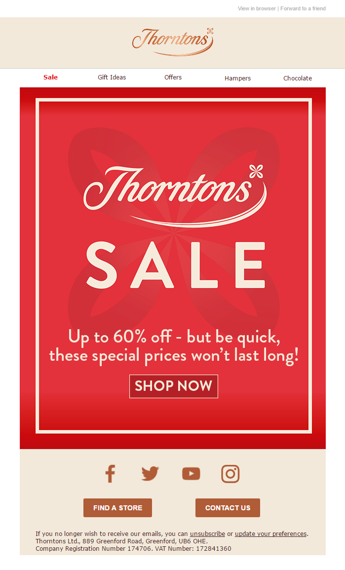 Sale Email from Thorntons #EmailMarketing #Email #Marketing #Sale #Chocolate #Gifts