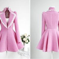 Pink Rose big circle coat