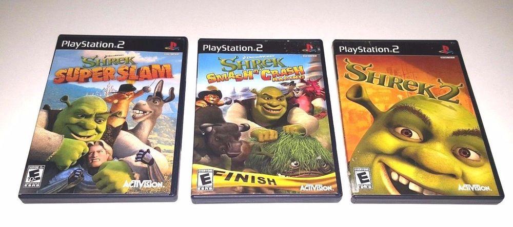 3 Playstation 2 Ps2 Shrek Superslam Smash Crash Racing Shrek 2 Playstation Playstation 2 Playstation Games