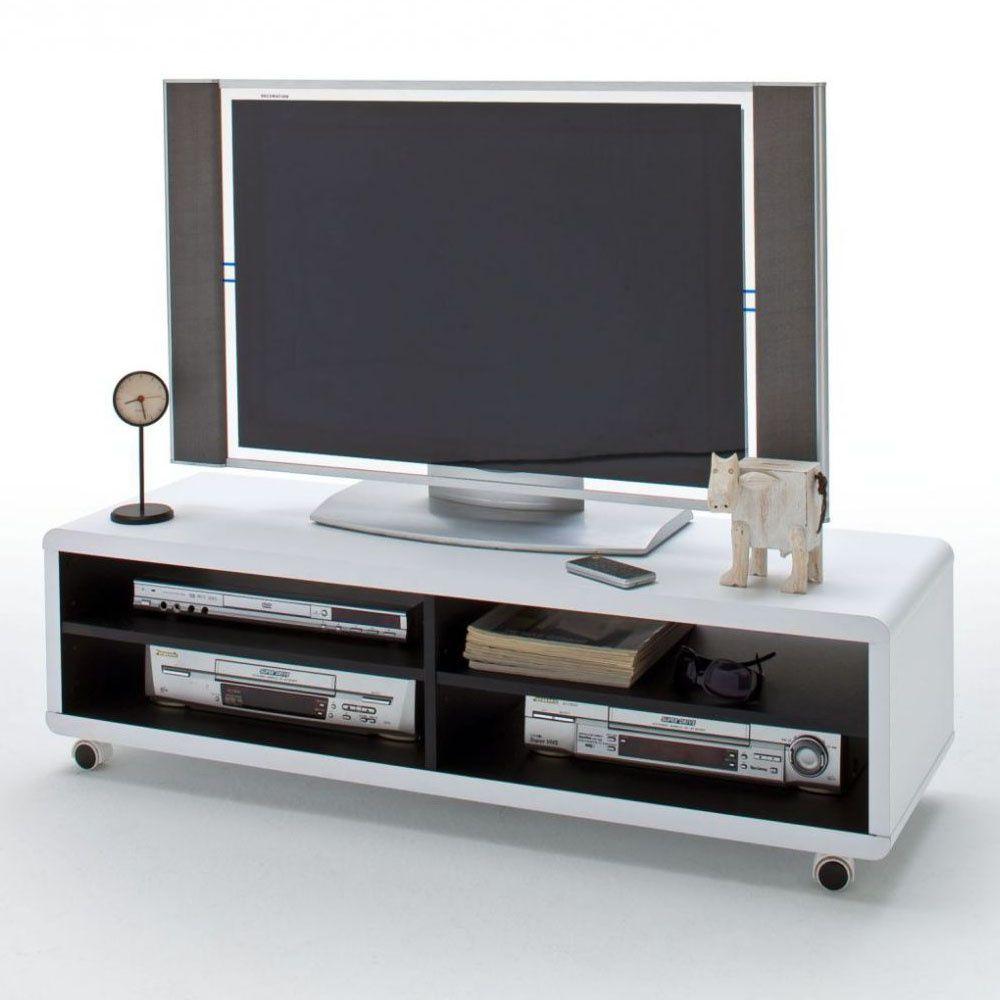 jeffrey xl tv board in modernem wei schwarz auf rollen tv boards lowboards tv. Black Bedroom Furniture Sets. Home Design Ideas
