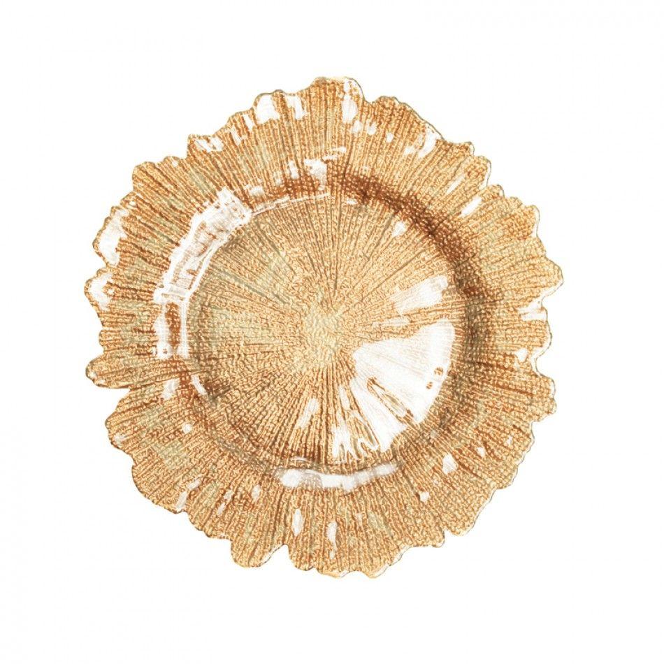 Flora Glass Charger Plates Gold Bulk 4 Plates 403413