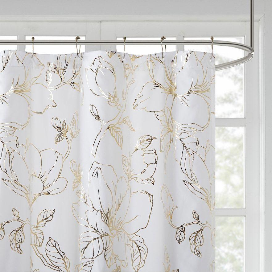 printed floral metallic shower curtain