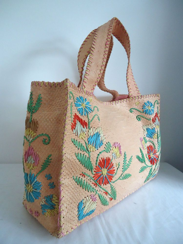 faad5e0b64d PAOLO MASI ITALY LARGE GENUINE LEATHER FLORAL DESIGN TOTE WEEKENDER ...
