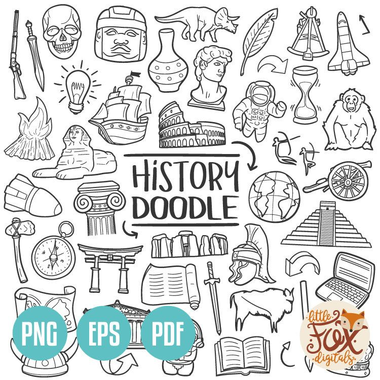 Photo of VECTOR EPS History Subject School Historical Design Doodle Icons Clipart Scrapbook Set Hand Drawn Line Art Design Clip Art Coloring Sketch
