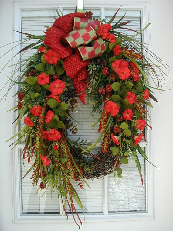 Oval Wreath Spring Summer Red Wreath Morning Glory Long Narrow Wreath Burlap Lux Bow Fall Autumn Hanging Decoration Large Spring Wreath Wreaths Holiday Wreaths