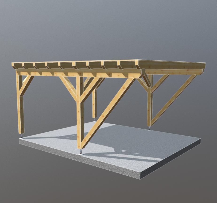 Holz carport flachdach 4m x 5m, carports aus polen