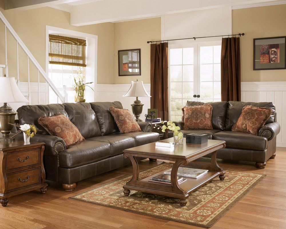 Rustic Paint Colors Truffle Color Rustic Living Room With Nailhead Deatils B Brown Furniture Living Room Brown Couch Living Room Dark Brown Couch Living Room