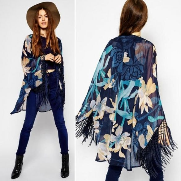 Summer Women Casual Chiffon Kimono Cardigan Long Sleeve Tassel ...