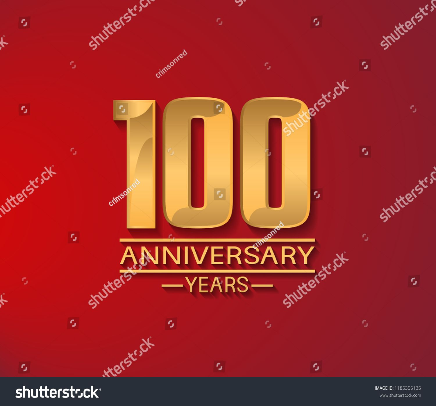 100 years golden shiny anniversary simple design with red