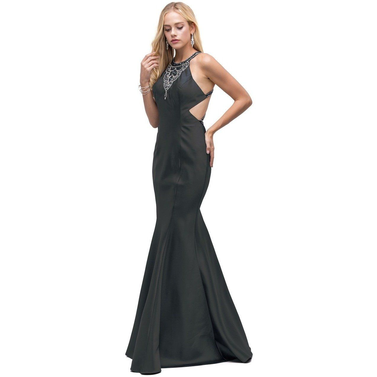 Highneck prom dress with an open strappy back products