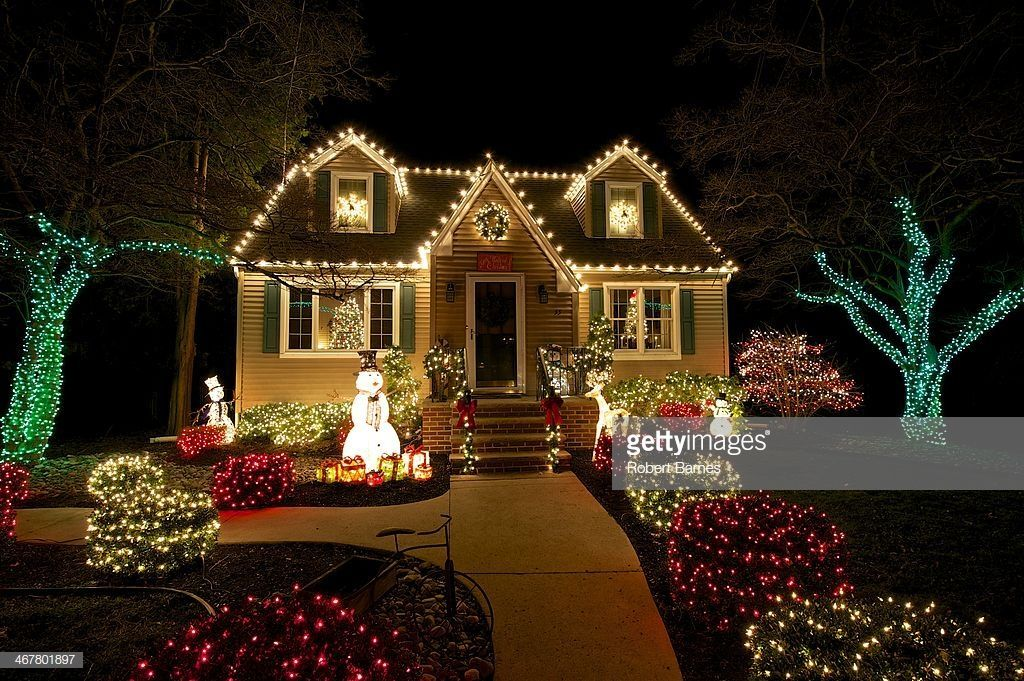 Cape Cod Style House Christmas Decorations In 2020 Christmas House Lights Exterior Christmas Lights Outdoor Christmas Lights