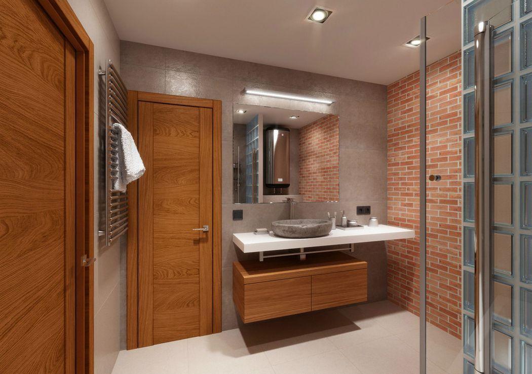 Kád és zuhanyfülke egyben, tégla dekor, üvegtégla és fa - 6,3nm-es ...