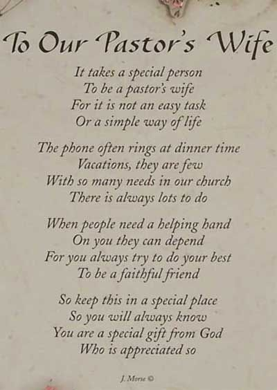 Pastor s wife this poem could also work for although