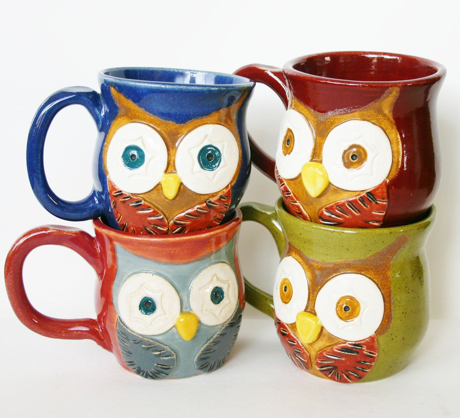 Mr Owl Ceramic Mug  Choose Your Color  Retro by BackBayPottery, $26.00