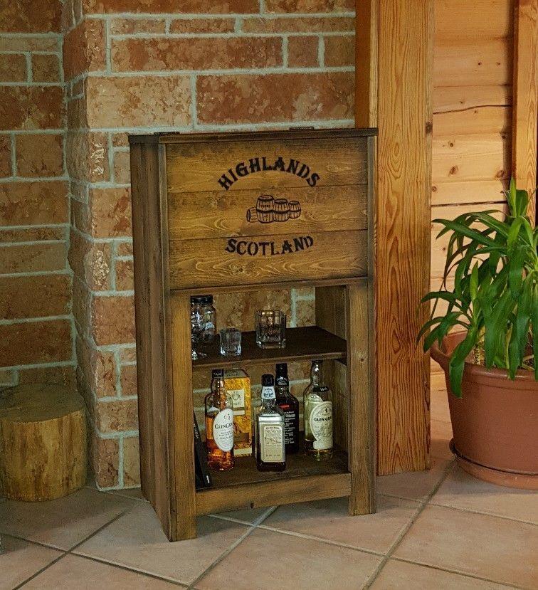 Bar Whiskey Frachtkiste shabby vintage Schrank Whisky massiv Truhe ...