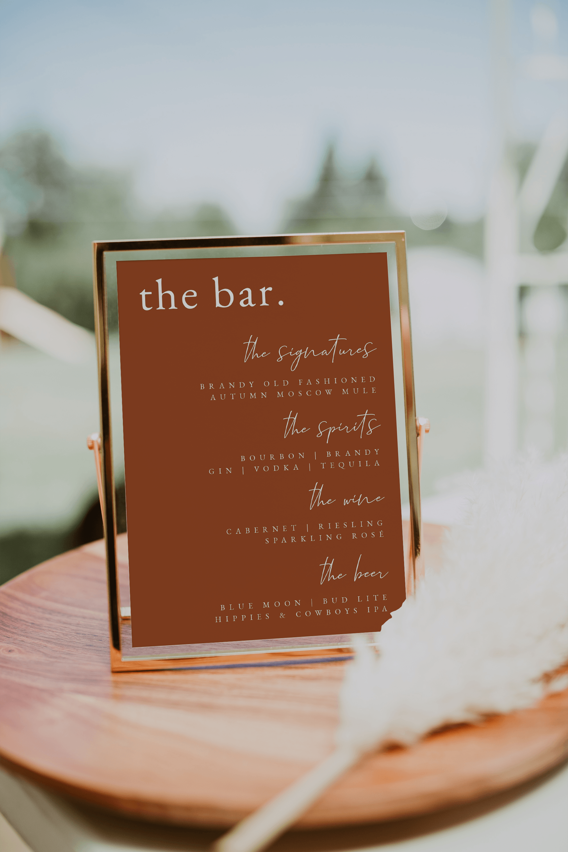 floral bar sign Cash bar sign Printable wedding sign Party sign Engagement bar signs Alcohol sign rustic sign #RTV9 Wedding bar sign
