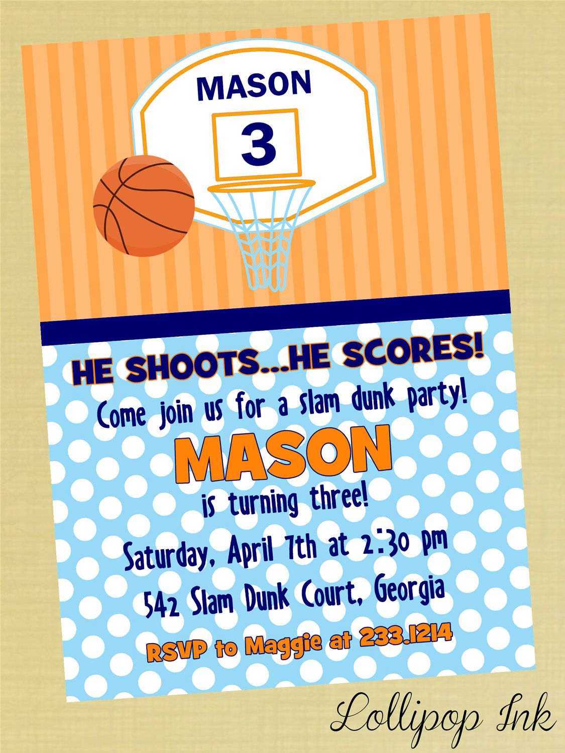 Basketball Printable Birthday Invitation Slam Dunk by LollipopInk ...