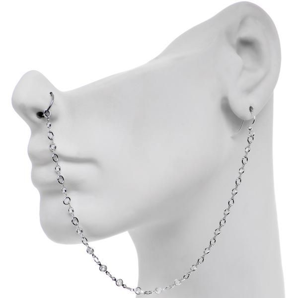 Pretty Punk Ear to Nose Chain Created with Swarovs