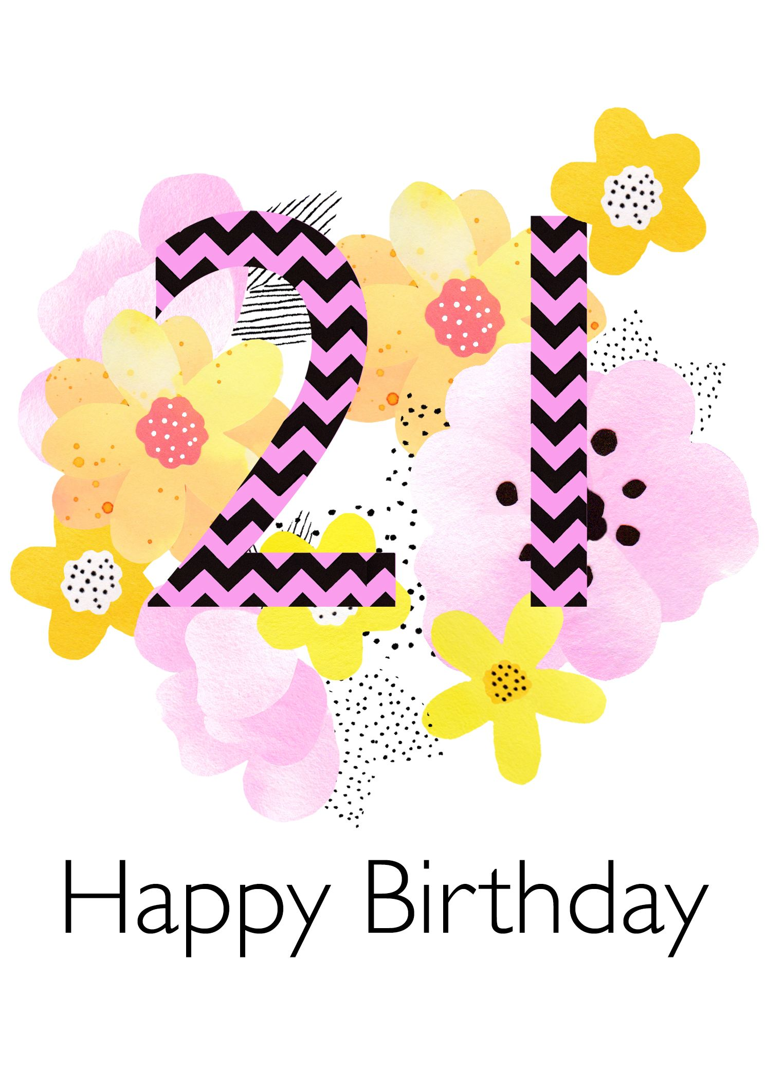 21st Birthday Card 2 50 Contemporary Floral Design Blank Card By Between Sisters Studio 21st Birthday Cards Birthday Cards Happy 2nd Birthday