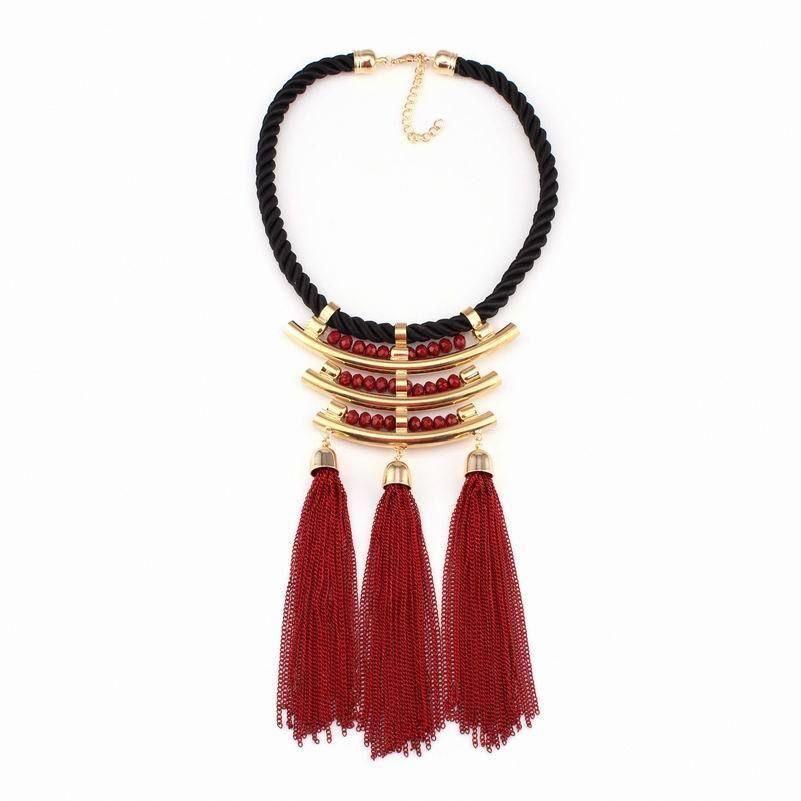 Tribal rope necklace boho layering necklaces hemp