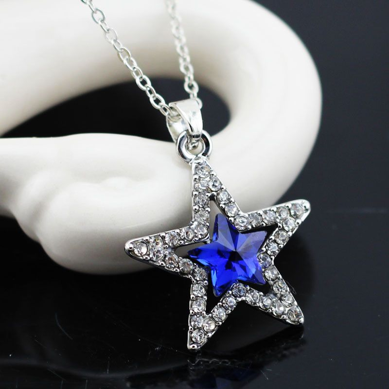 925 Silver Women Hollow Five-Pointed Star Crystal Pendant Necklace Jewelry