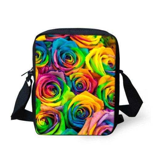 New Fashion Flower Print Women Ladies Handbag Mini Messenger-bags Children Girls Travel Bag Floral Messenger Bag High Qualtiy
