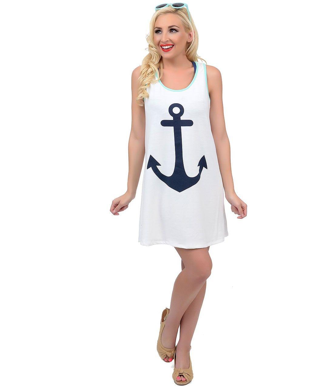 9ac1b812e90a3 #Nautical Anchor Swim Cover Up #uniquevintage Navy Anchor, Anchor Print,  Nautical Anchor