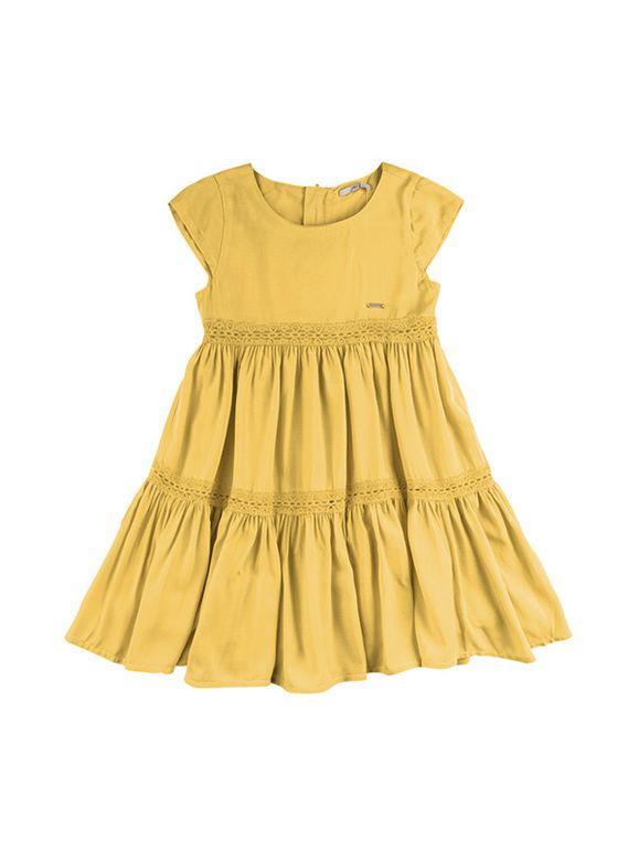 6eb773f34045 Vestido Infantil Em Tecido De Viscose Com Efeito Rodado | Vestidos |  Feminino | PUC