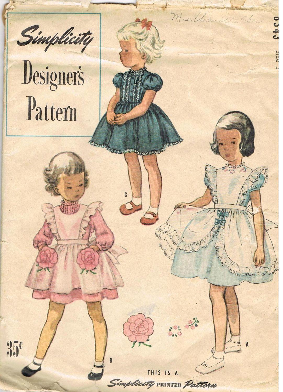1950s childs ruffled dress pattern simplicity 8343 puffy sleeve 1950s girls ruffled pinafore dress simplicity 8343 vintage sewing pattern size 5 breast jeuxipadfo Gallery