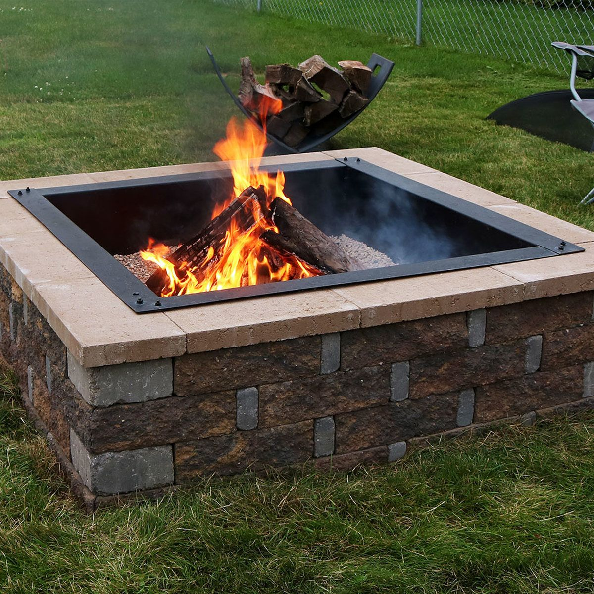 Sunnydaze Square Heavy Duty Fire Pit Rim Liner Diy Fire Pit Above Or In Ground Steel Square Fire Pit Wood Burning Fire Pit Fire Pit Backyard Backyard diy square fire pit