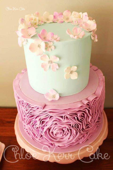 Pretty Water Color Flower Cake Hochzeitstorten Pinterest Cake