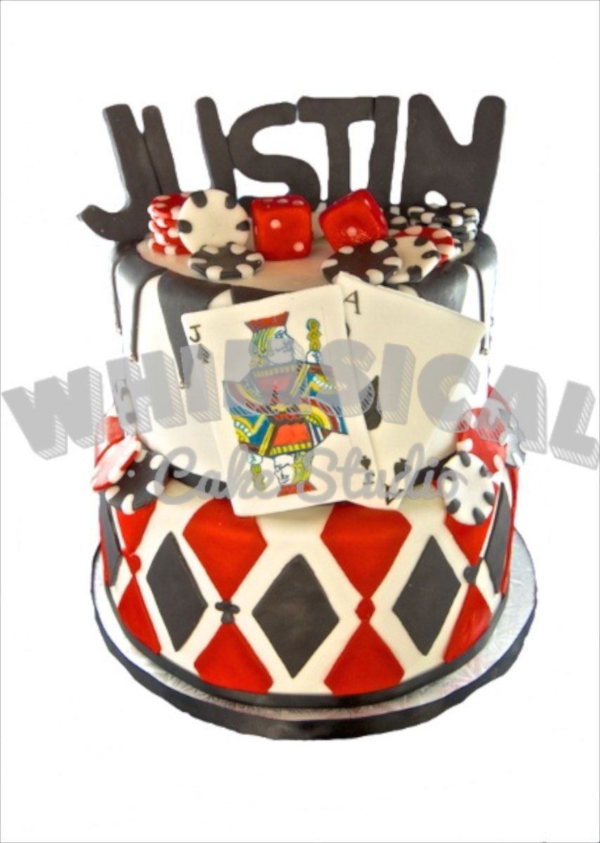 Hand Painted Jack And Ace Front This Card Players Birthday Cake