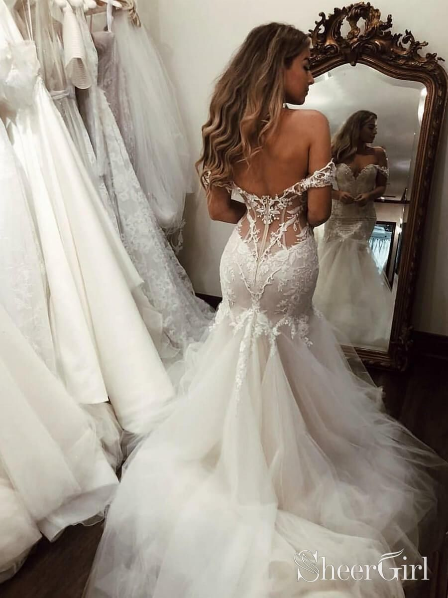 Off The Shoulder Mermaid Wedding Dresses Vintage Cheap Bridal Gown