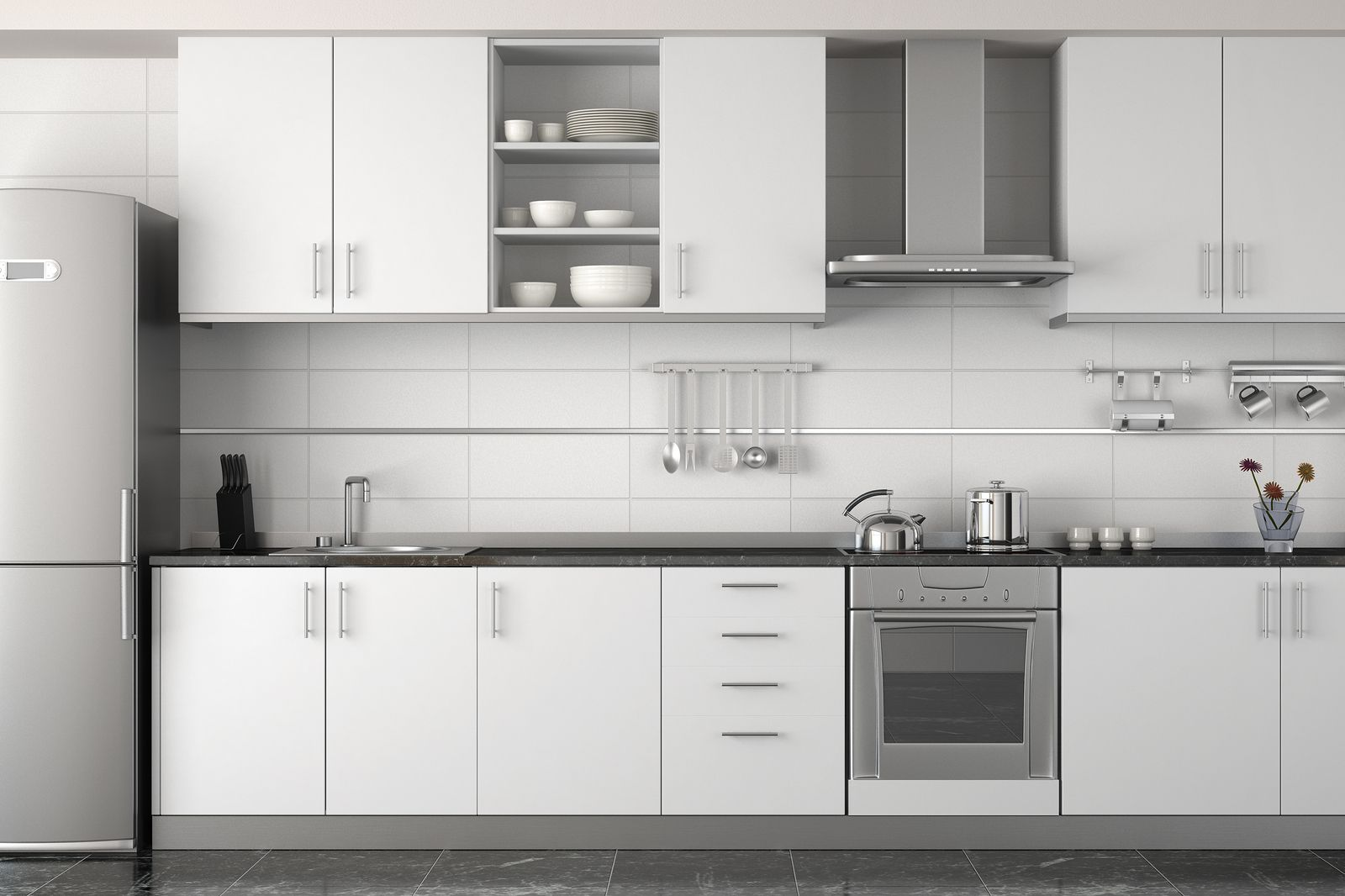 Image result for ikea white kitchen cabinets like the large tiles ...