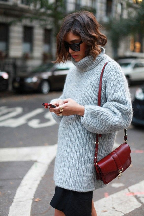 Knit Turtleneck + Loose Black Skirt. An oversized turtleneck makes running errands in the cold weather much more enjoyable. Try it.