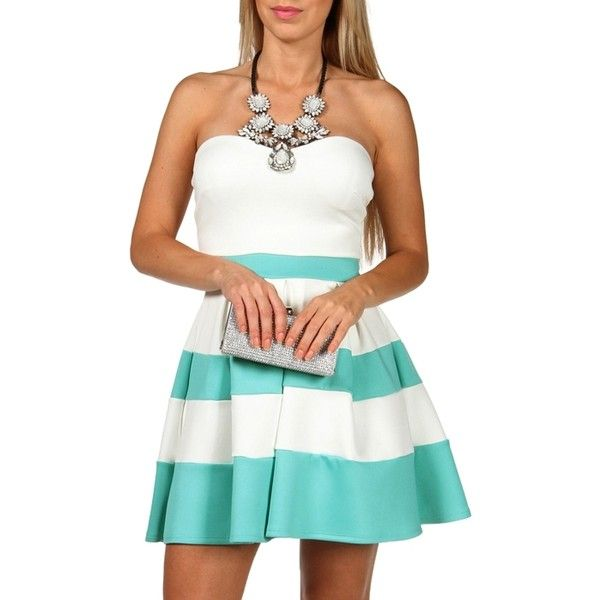 White/Mint Strapless Color Block Dress