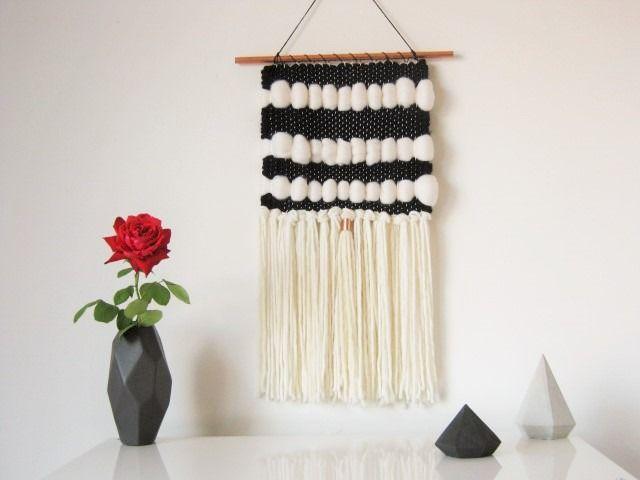 tapisserie murale d corative graphique noir blanc cr me soie cachemire laine merinos tenture. Black Bedroom Furniture Sets. Home Design Ideas