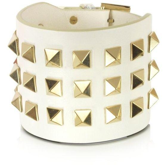 93f44d8d5f51 Valentino Garavani Pop Rockstud Leather Double Bracelet found on Polyvore · Leather  Cuff BraceletsJewelry ...