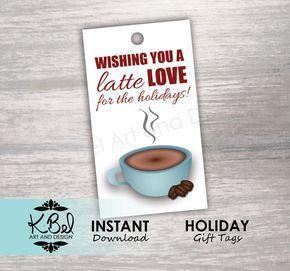 Coffee Christmas Puns.Printable Funny Holiday Tags Coffee Latte Holiday Tags