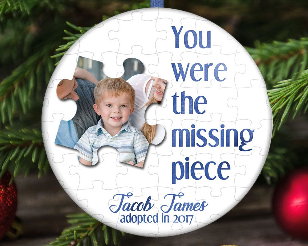 Adoption christmas ornament missing puzzle piece by